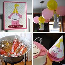 Pink Monkey and Bananas Kid\u0027s 1st Birthday Party Idea Free Printable Templates Kathy Beymer at