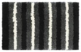 black gray and white striped bathroom rug 18 x28 contemporary bath mats by attraction design llc