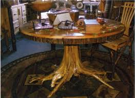 rustic tree dining table amish rustic hickory dining table round tree stump root bark on wood