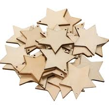 25pcs wooden star shapes ons embellishments for diy sbooking craft 40mm
