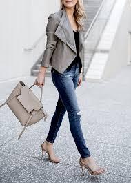krystal schlegel blogger jacket tank top jeans shoes grey jacket spring outfits handbag sandals high heel