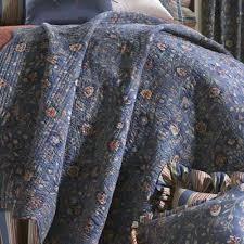 Wakefield Jacobean Floral Dark Blue Quilt Bedding & Wakefield Floral Quilt Dark Blue Adamdwight.com