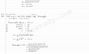 heron s formula ex 12 1 r d sharma