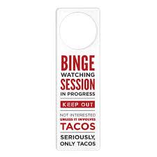 Binge Watching Session Door Hanger Zazzle Com
