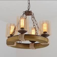 industrial 21 w chandelier with cylinder glass shade and rope decoration 4 light