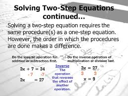 solving two step equations continued