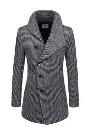 black asymmetric cowl neck wool blend pea coats mens