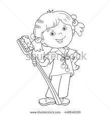 Small Picture Coloring Page Outline Cartoon Girl Toothbrush Stock Vector