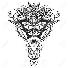 Butterfly On Ethnic Leaves And All Seeing Eye Freemason And