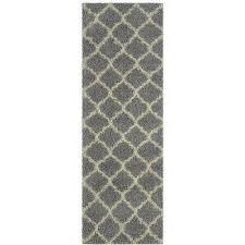 collection gray moroccan trellis design 3 ft x 8 ft runner rug