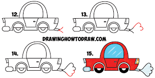 car drawing easy step by step. Simple Easy Learn How To Draw A Cartoon Car From Lowercase Letter E Shapes  Simple Step  By Intended Drawing Easy By A