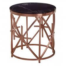 alvaro black marble rose gold table modern furniture side tables