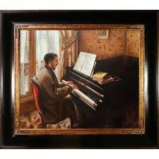 young man playing the piano by gustave caillebotte framed painting