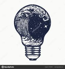 Storm In A Light Bulb Tattoo Symbol Of Adventures Boho Style