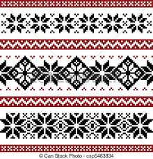 Nordic Pattern Stunning Nordic Pattern With Snowflakes Black And Red Silhoeuttes Isolated
