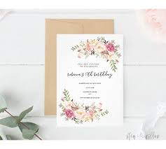 Enjoy This Floral Framed Birthday Invitation Size 127 Cm X 178