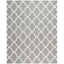 safavieh cambridge black and ivory rectangular indoor tufted grey and white geometric