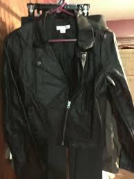 details about las black leather jacket xhilaration size xl 2 pockets half zippered front