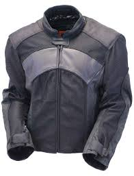 men s leather mesh reflector racer motorcycle jacket armor