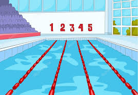 swimming pool lane lines background. Cartoon Background Of Indoor Swimming Pool. Professional Pool With Blue Water. Lanes For Competition Lane Lines