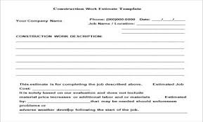 Download Construction Work Estimate Template Doc Format Free