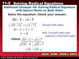 additional example 4a solving radical equations with square roots on both sides