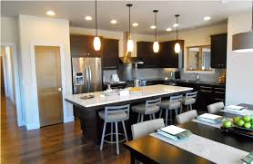 black and white color combination for open kitchen using recessed light and mini pendant lights combination on low ceiling ideas