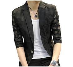 Mfasica Men Fashion 3 4 Sleeve Sunscreen Hollowblazer Sport