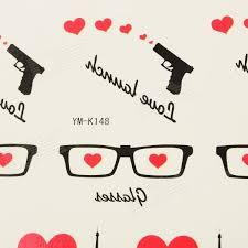 Ym K148 Sexy Brýle W Srdce Pistole Eiffelova Věž Vzor Tetování