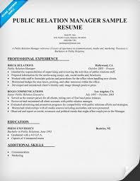 Public Relation Manager Resume Sample Pr Resume Samples Across
