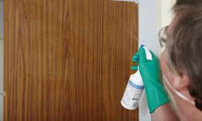 man spray cleaning laminate cabinet