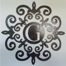 family initial monogram inside a metal scroll with g letter inches wall decor art rustic