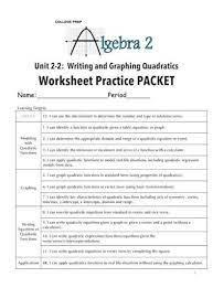 graphing quadratics worksheet