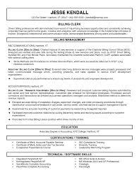 Medical Billing Clerk Sample Resume Resume And Application Letter