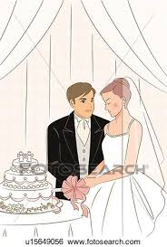cutting the wedding cake clipart. Interesting Clipart Bridal Couple Cutting Wedding Cake Groom Looking At Bride Who Is Closing  Eyes Throughout Cutting The Wedding Cake Clipart P