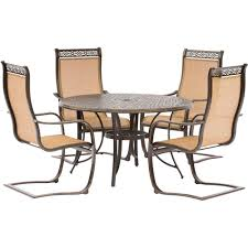 outdoor sling chairs. Hanover Manor 5-Piece Aluminum Round Outdoor Dining Set With Spring Sling Chairs And Cast