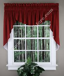 Red Swag Kitchen Curtains Renaissance Emery Lined 3 Piece Swag Set 36 L Burgundy