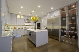 new york white lacquer kitchen contemporary with waterfall counter top manufactured wood standard height dining tables large fridge
