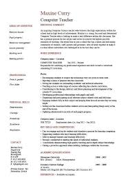 Example Cv Resume Enchanting Computer Teacher Resume Example Sample IT Teaching Skills