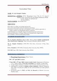 Free Teacher Resume Templates Sample Resume Format For Teaching Profession Unique Sample Resume 47