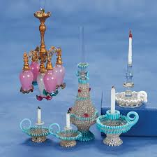 19th century miniature dollhouse glassware and chandelier