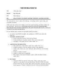 Incident Report Writing And Procedures Memorandum 06 15 2016