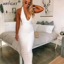 Articat Halter Backless <b>Sexy</b> Knitted Pencil Dress <b>Women White</b> Off ...