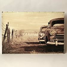 metal printed wall decor with cars