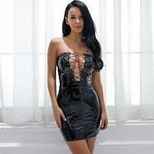 yara latex strapless dress