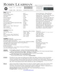 Resume Template Example It Musical Theatre Format Cv Acting Pdf