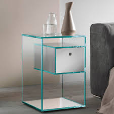 glass bedside table. Liber Glass Tall Bedside Table-22471 Table