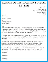 reason for leaving examples formal resignation letter template business