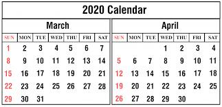 March April 2020 Calendar Monthly Calendars December