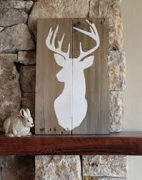 spectacular idea cabin wall art interior designing home ideas buck silhouette reclaimed wood sign deer rustic decor metal rules outdoor themed